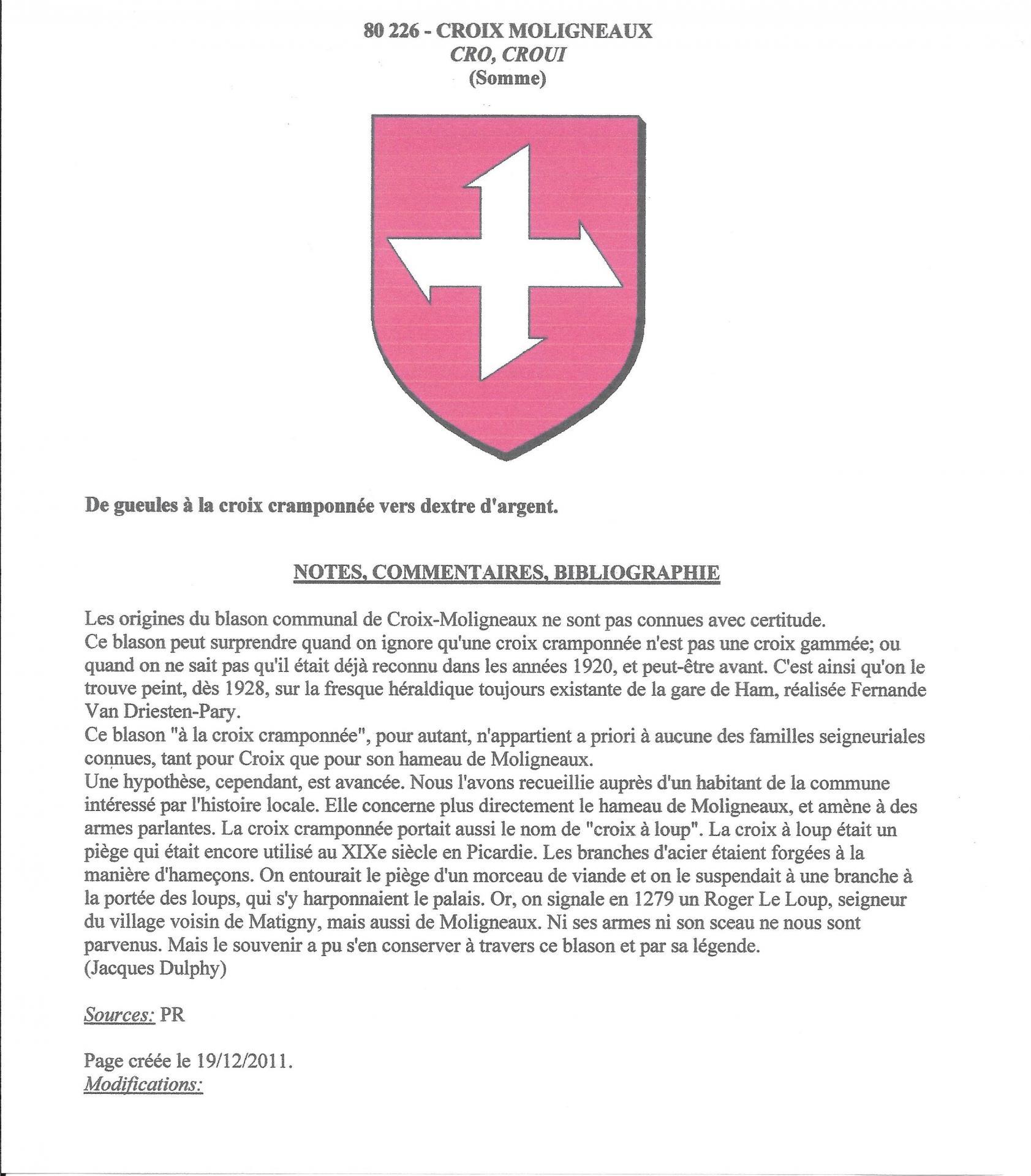 Croix moligneaux historique embleme