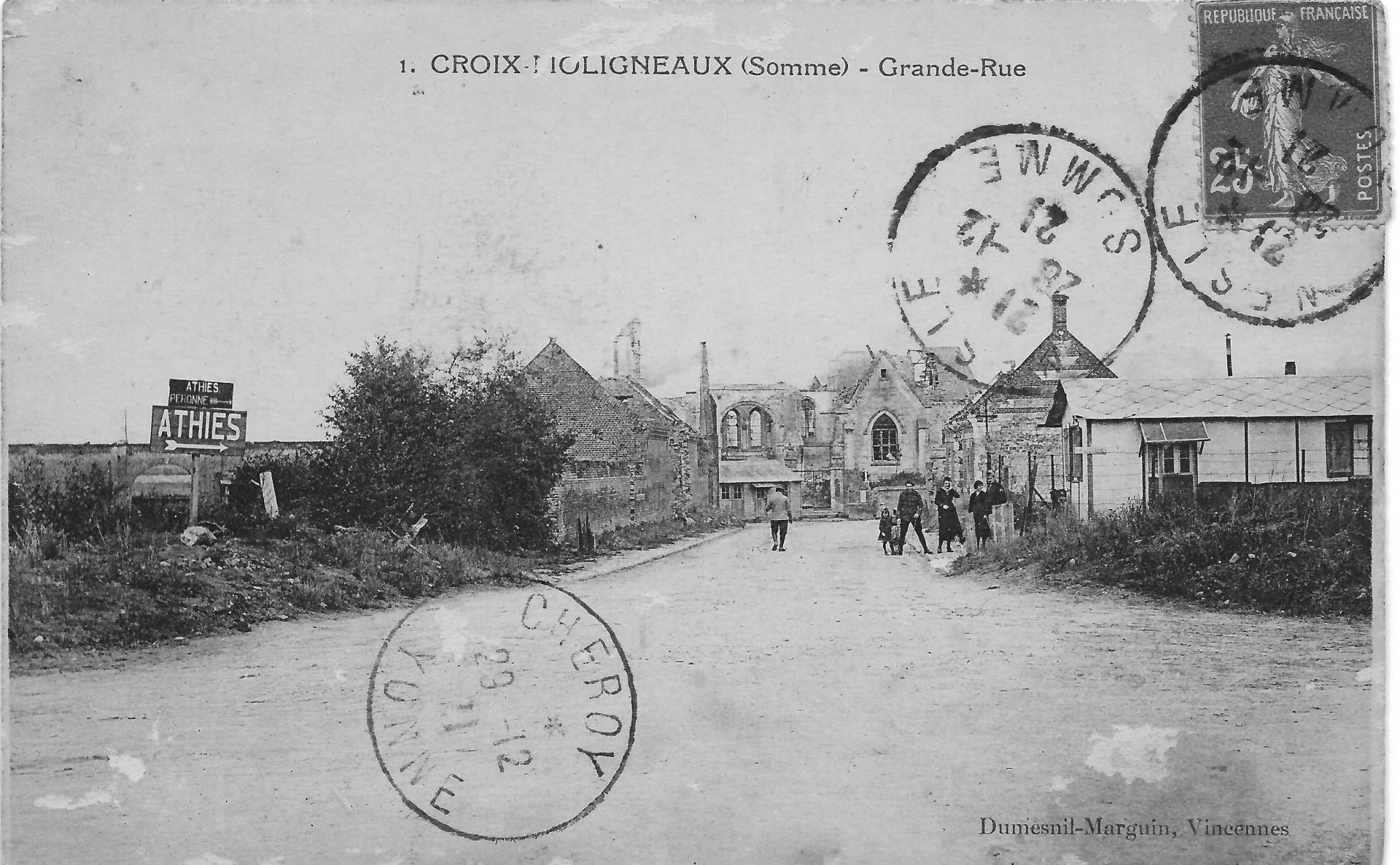 Croix moligneaux rue eglise 1922